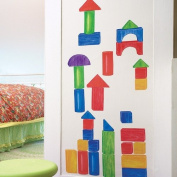 Wallies W13534 Peel and Stick Wall Play Wooden Blocks Mural