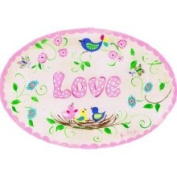 Stupell Industries The Kids Room - Love with Birds with Nest Pink Oval Wall Plaque