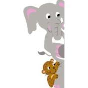 Elephants on the Wall E 5-1154 Elephant & Leopard Doorhugger