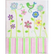 Stupell Industries Green Bird On Flower Rectangle