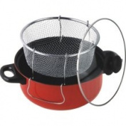 American Trading House Jl-5303R Gourmet Chef 4.5 Qt. Non Stick Deep Fryer With Frying Basket & Glass Cover. Red