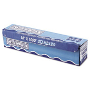 "Standard Aluminum Foil Roll, 18"" x 1000ft, 14 Micron Thickness, Silver"