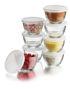 Libbey 6-1/60ml Small Bowls with Plastic Lids, 8-Piece Set