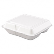 Dart 80HT3 20cm x 19cm x 5.1cm White Foam 3 Compartment Hinged Lid Container 100/PK