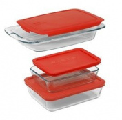 Pyrex Easy Grab 6 Piece Bakeware Set with Red Plastic Cover