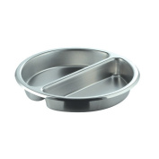 SMART Buffet Ware Divided Medium Round Stainless Steel Food Pan
