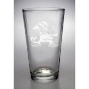 Notre Dame Fighting Irish Leprechaun 470ml Deep Etched Pub Pint Glass Campus Crystal X8-11