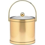 Kraftware 76564 Mylar Brushed Brass 3 Quart Ice Bucket with Bale Handle Lucite Cover with Flat Knob