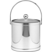Kraftware 75864 Mylar Polished Chrome 3 Quart Ice Bucket with Bale Handle Lucite Cover with Flat Knob