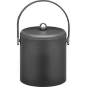 Kraftware 69473 Soho Black Leatherette 3 Quart Ice Bucket- Stitched Handles- Chrome Lid And Side Hardware
