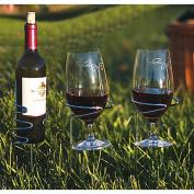 Picnic Plus Psm-163 Handy Holder Combo - 2 Wine Glasses - 1 Bottle Holders Silver