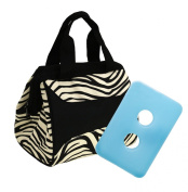 Fit & Fresh Women's Downtown Insulated Lunch Bag with Zipper Closure and Exterior Pocket, Stylish Adult Lunch Box for Work, Zebra