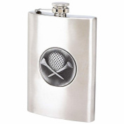 BNF KTFLASKGOLF Maxam 8oz Stainless Steel Flask with Embossed Golf Ball