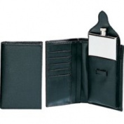Simran S1600-WBLK Ajmer 3 oz. Stainless Steel Flask In Black Leather Wallet