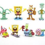 Spongebob SquarePants 8 Piece Play Set with 8 SpongeBob Figures Featuring Squidward, Sandy Cheeks, Patrick Star, Mr. Krabs, Plankton, and Gary