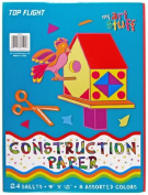 Top Flight Construction Paper, Assorted Colours, 23cm x 30cm , 24 Sheets, Polywrapped