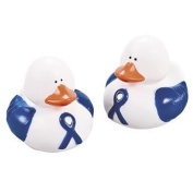 Blue Awareness Ribbon Rubber Duckies - Novelty Toys & Rubber Duckies
