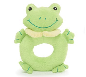 Plush 15cm H Green Frog Baby Rattle with Embroidered Face Great Baby Shower Gift