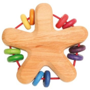 Grimm's Rattle Star, Rainbow Colours - Handmade Wooden Baby Grasper/Teether with 10 Colourful Discs