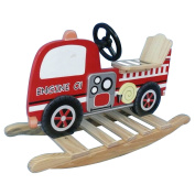 Teamson TD-0042A Fire Engine Rocking Horse - Trains and Trucks Room Collection