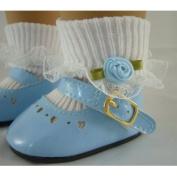 Light Blue Patent Shoes & Rosebud Socks Fits American Girl Dolls