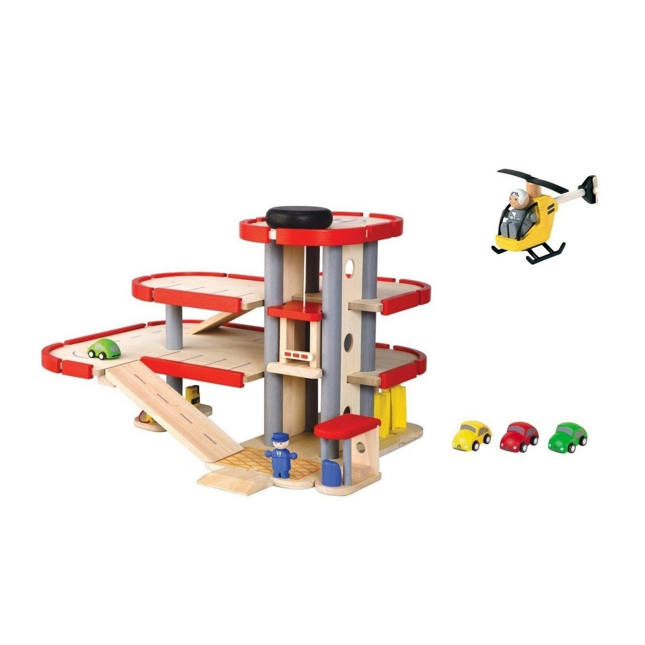 plan city wooden garage, cars, and helicopter sets
