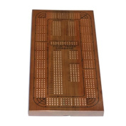 WE Games 4-Track Medium Stained Solid Oak Cribbage Board