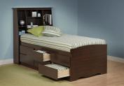 Tall Captain's Platform Storage Bed w/ Bookcase Headboard