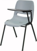 Flash Furniture RUT-EO1-GY-LTAB-GG Grey Ergonomic Shell Chair with Left Handed Tablet Arm