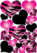 Hot Pink Radial, Zebra Print, and Black Hearts Wall Sticker Decals