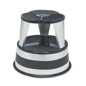 Original kik-step steel step stool, 230kg. cap., 15-5/8 dia.x14h, silvertone