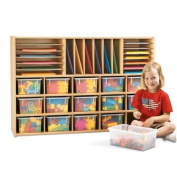 Young Time 7032YT441 Sectional Cubbie Storage - with clear trays