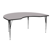 48''W x 96''L Kidney Shaped Activity Table with Thermal Fused Laminate Top and Standard Height Adjustable Legs