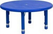 33'' Round Height Adjustable Round Blue Plastic Activity Table
