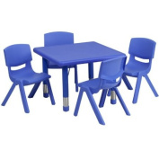 24'' Square Adjustable Blue Plastic Activity Table Set with 4 School Stack Chairs