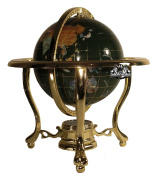 Unique Art 33cm Tall Malachite Green Ocean Table Top Gemstone World Globe with Gold Tripod