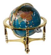 Unique Art 50cm Tall Turquoise Ocean Table Top Gemstone World Globe with 4 Leg Gold Stand