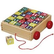 Solid Wood ABC Blocks in Cart - Classic Carved Toy with Wheels & Pull Cord