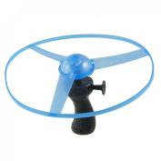 Como Black Handle Pull String Wind up Blue Plastic Flying Disk Toy w 3 LEDs