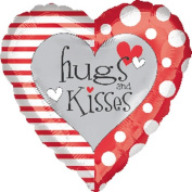 Single Source Party Supplies - 46cm Hugs and Kisses Red & White Mylar Foil Balloon