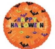 Orange With Bats & Spiders Happy Halloween 46cm Mylar Foil Balloon Party