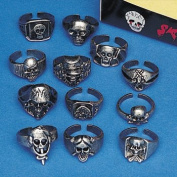 Lot of 12 Metal Skull Rings Kids Pirate Party Favours