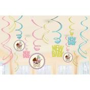 Modern Mommy Baby Shower Hanging Swirl Decorations