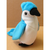 TY Beanie Babies Rocket the Blue Jay Bird Stuffed Animal Plush Toy - 14cm tall - Blue and White