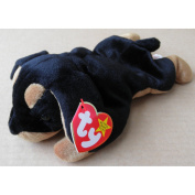 TY Beanie Babies Doby the Dog Stuffed Animal Plush Toy - 20cm long - Black and Brown
