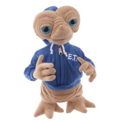 38cm Plush E.T. Extra Terrestrial Plush Doll Wearing Blue E.T. Embossed Hoodie