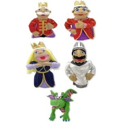 Set of 5 Royal Family Plush Hand Puppets By Melissa and Doug Including King, Queen, Princess, Knight and Dragon