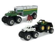 ERTL Toys John Deere Monster Treads Pick Up Hauler with Horse & Trailer, 13cm