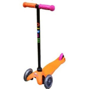 Limited Edition Neon Orange Mini Micro Kickboard with Pink Brake and Mismatched Grips, by micro