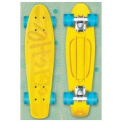 CLICHE PLASTIC CRUISER Retro Skateboard YELLOW/CYAN Trocadero 70's Mold